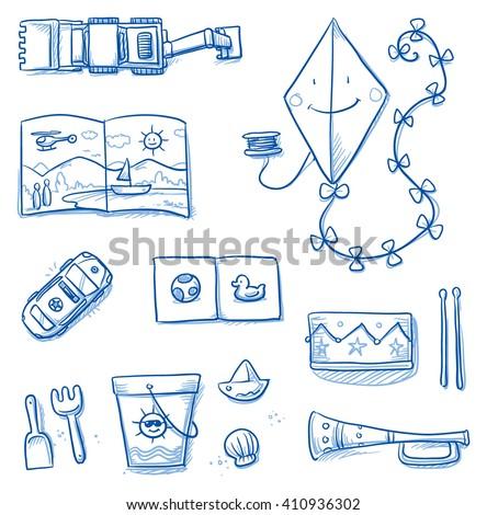 Children toys icons flat lay, kite, books, music instruments, car, sand bucket, excavator. Hand drawn cartoon vector illustration. - stock vector