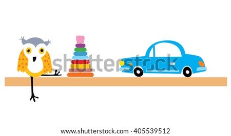 Children toys shelf. Cute kids car and owl icons. Flat design. Vector illustration - stock vector