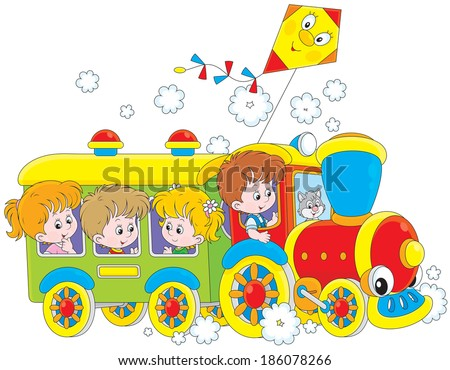 Children travel by train - stock vector