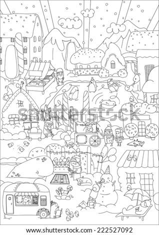 Children vector coloring. Winter town. Vector illustration - stock vector
