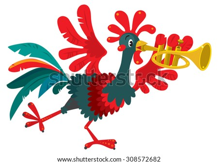 Children vector illustration of funny little rooster plays the trumpet. - stock vector
