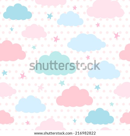 Children vector seamless pattern with blue and pink clouds and stars in sky on a polka dots background - stock vector