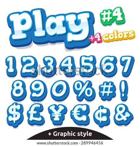Children video game letters. Vector cute alphabet for children in cartoon style - stock vector