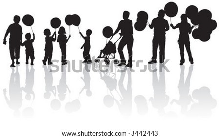 Children walking on street with holding balloon - stock vector