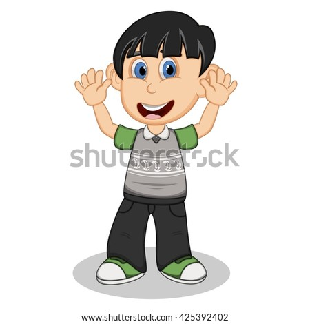 Children waving his hand wearing grey short sleeve sweater and black trousers  cartoon vector illustration - stock vector
