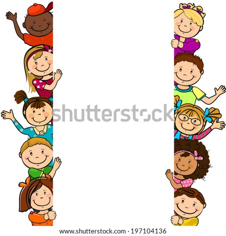 Children with a blank sheet of paper where you can enter your own text-isolated - stock vector
