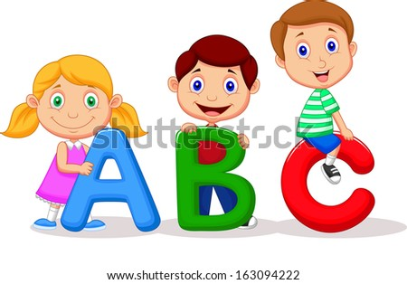 Children with ABC - stock vector