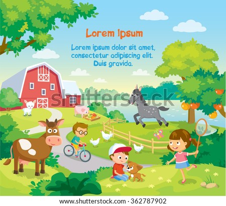 children with animals in the farm courtyard - stock vector