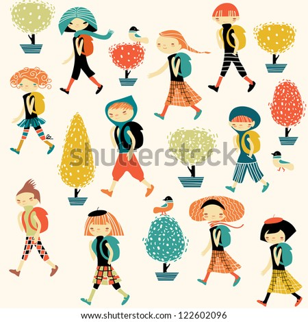 children with backpacks going to school - stock vector
