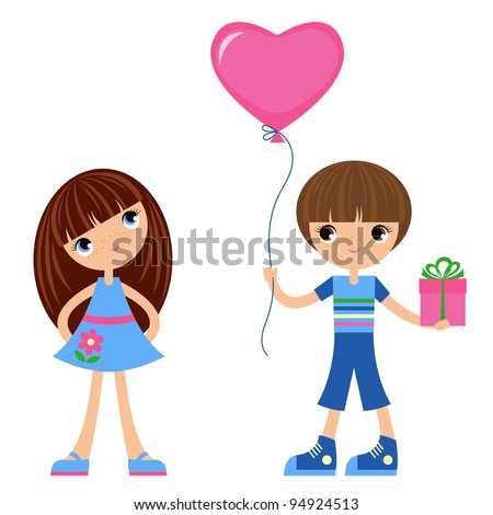 Children with balloon heart/The boy gives gifts to the girl.  The vector image . The different graphics are all on separate layers so they can easily be moved or edited individually. - stock vector