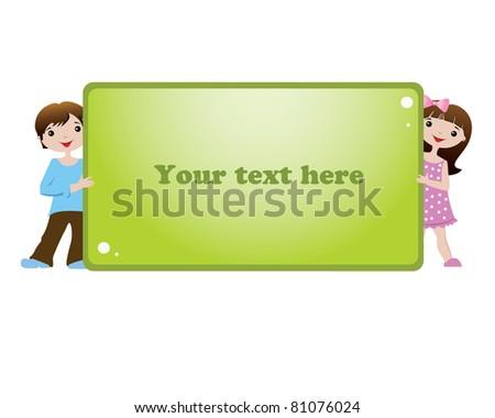 Children with banner - stock vector