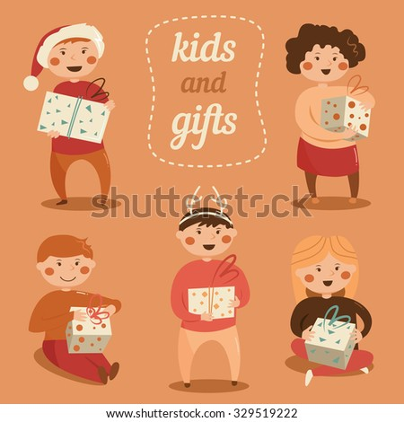 Children with Christmas gifts. Cartoon character. Vector isolated illustration. New year. Can be used for banner, cards, invitations etc. - stock vector