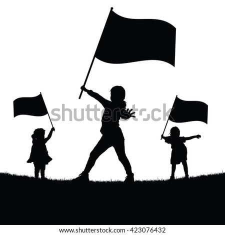 children with flag silhouette illustration in nature - stock vector