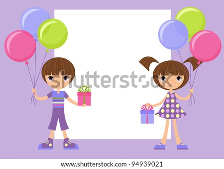 Children with gifts / The boy and the girl hold gifts and balloons in their hands. The vector image . The different graphics are all on separate layers . - stock vector