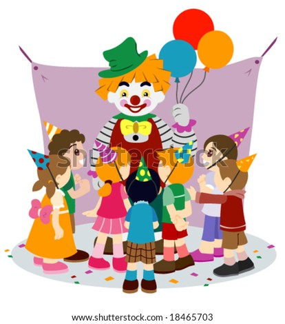 Children with Party Clown - Vector