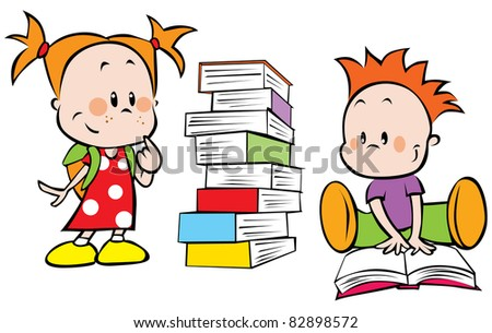 children with pile of books - stock vector