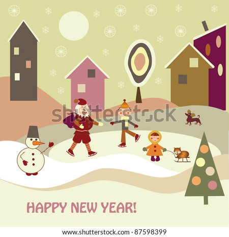 children with Santa Claus - stock vector