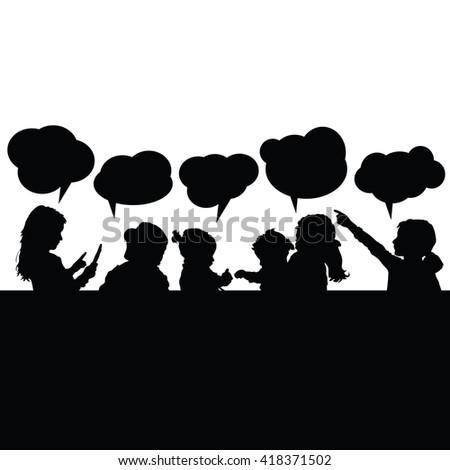 children with speech bubble silhouette illustration in black - stock vector