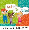children with though bubbles, back to school. vector illustration - stock vector