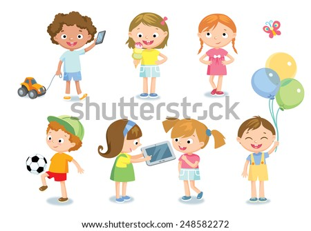 children with toys  - stock vector