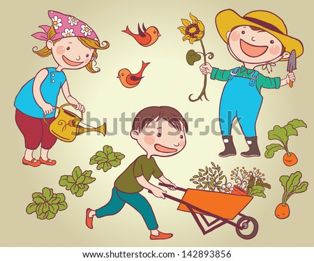 Children working in a vegetable garden. Children summer activity ideas.Children illustration for School books and more. Separate Objects. - stock vector