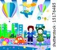 Children world: family and community - stock vector
