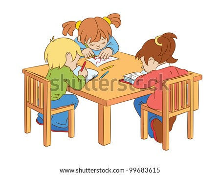 Children Write Read Sitting Table Stock Vector 99683615 ... Child Reading At Desk Clipart