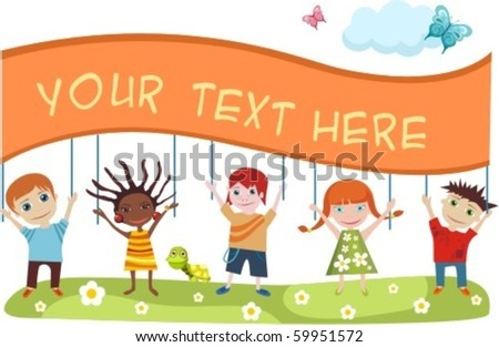 childrens card - stock vector