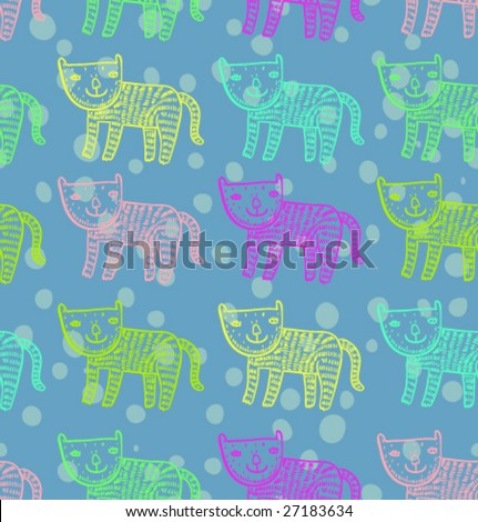 Childrens cute pattern - colorful cats in vector - stock vector