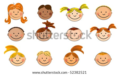 childrens faces. - stock vector