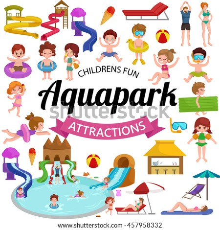 childrens fun in summing water park, pools and slides in aquapark for happy active lifestyle kids vacation, extreme holiday aqua ride in swimmingpool, indoor resort with pipe attraction vector