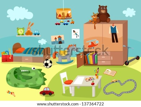 childrens room - stock vector