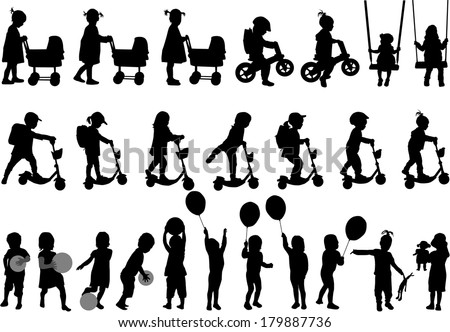 Childrens silhouettes - stock vector