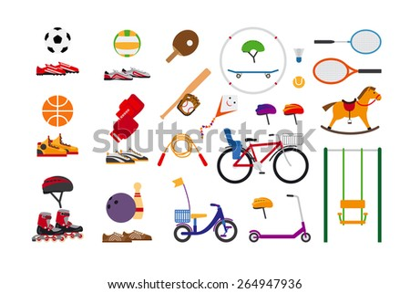 Childrens sports equipment for fun and leisure. Ball and kite flying, skate and bowling, jump rope and badminton, scooter and swing, rollers and bike, ping pong and volleyball - stock vector