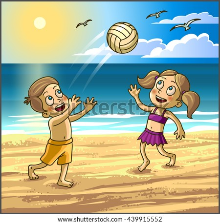 Childrens summer activities. Happy kids boy and girl are playing with ball on summer beach. Vector Illustration. - stock vector