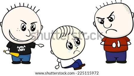 childs bullying little kid isolated on white background - stock vector