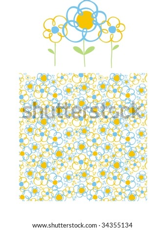 childs style flowers pattern, individual objects very easy to edit - stock vector