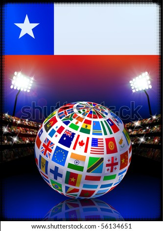 Chile Flag Globe on Stadium Background Original Illustration