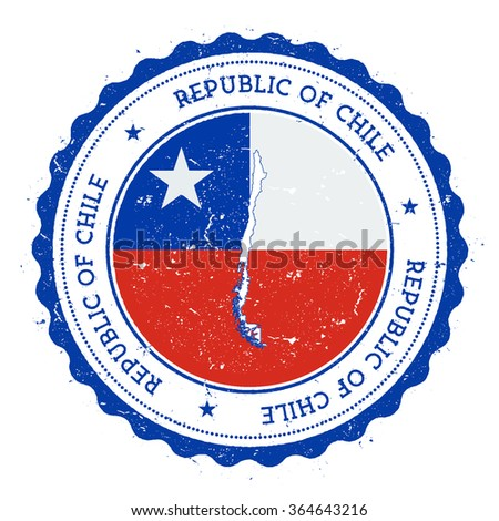 Chile map and flag in vintage rubber stamp of country colours. Grungy travel stamp with map and flag of Chile, vector illustration - stock vector