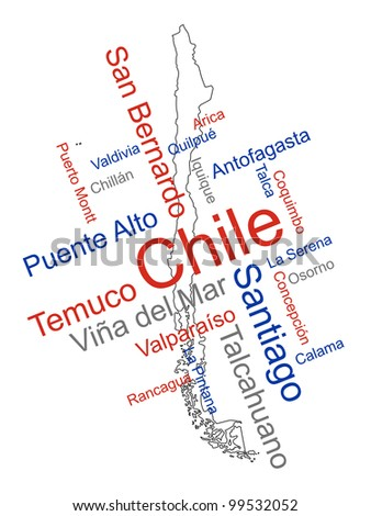 Chile map and words cloud with larger cities - stock vector