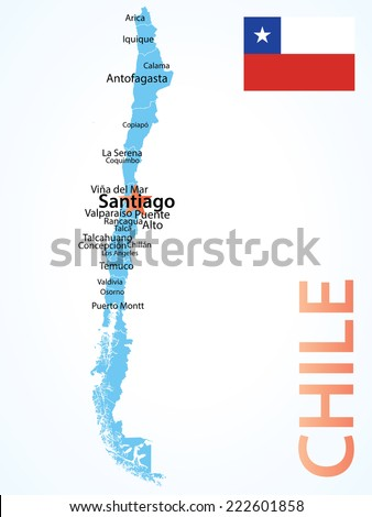 Chile Map Largest Cities Carefully Scaled Stock Vector - Chile map