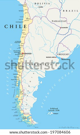 Chile Political Map with capital Santiago, with national borders, most important cities, rivers and lakes. Vector illustration with English labeling and scaling. - stock vector