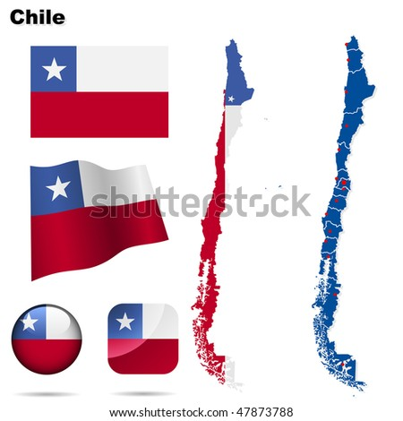 Chile vector set. Detailed country shape with region borders, flags and icons isolated on white background. - stock vector