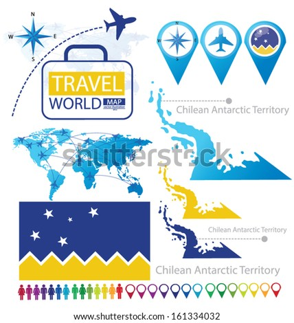 Chilean Antarctic Territory. flag. World Map. Travel vector Illustration. - stock vector