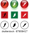 chili peppers symbols signs and buttons - stock vector