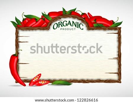 chilli menu board - stock vector