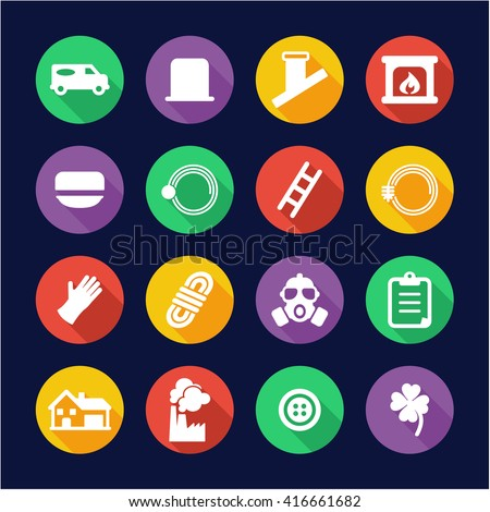 Chimney Sweeper Icons Flat Design Circle