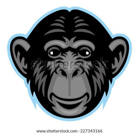 chimp head - stock vector
