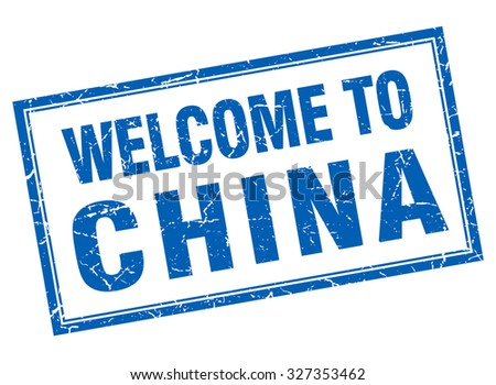 China blue square grunge welcome isolated stamp
