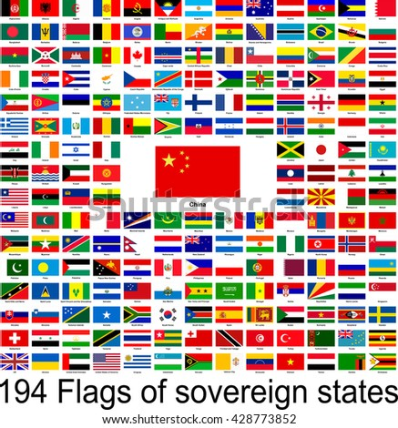 China, collection of vector images of flags of the world